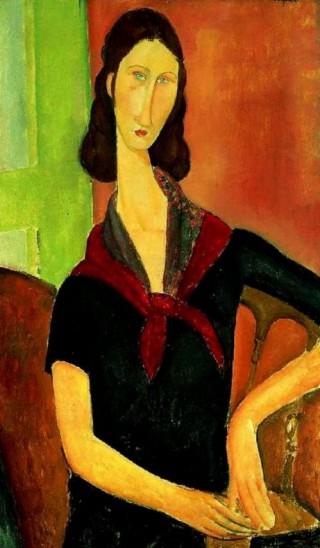 모딜리아니의 아내 잔느의 초상. 선명하게 빛나는 눈동자가 그려진 것을 보니 모딜리아니는 사랑하는 그녀의 영혼을 알았던 모양이다. 잔느는 모딜리아니가 만난 모든 여인 중 가장 믿을 수 있고 헌신적이며 가장 순정적인 여자였다. - 위키미디어 제공